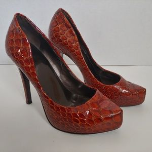 Jessica Simpson Red-Brown Croc Stiletto Heels 6.5